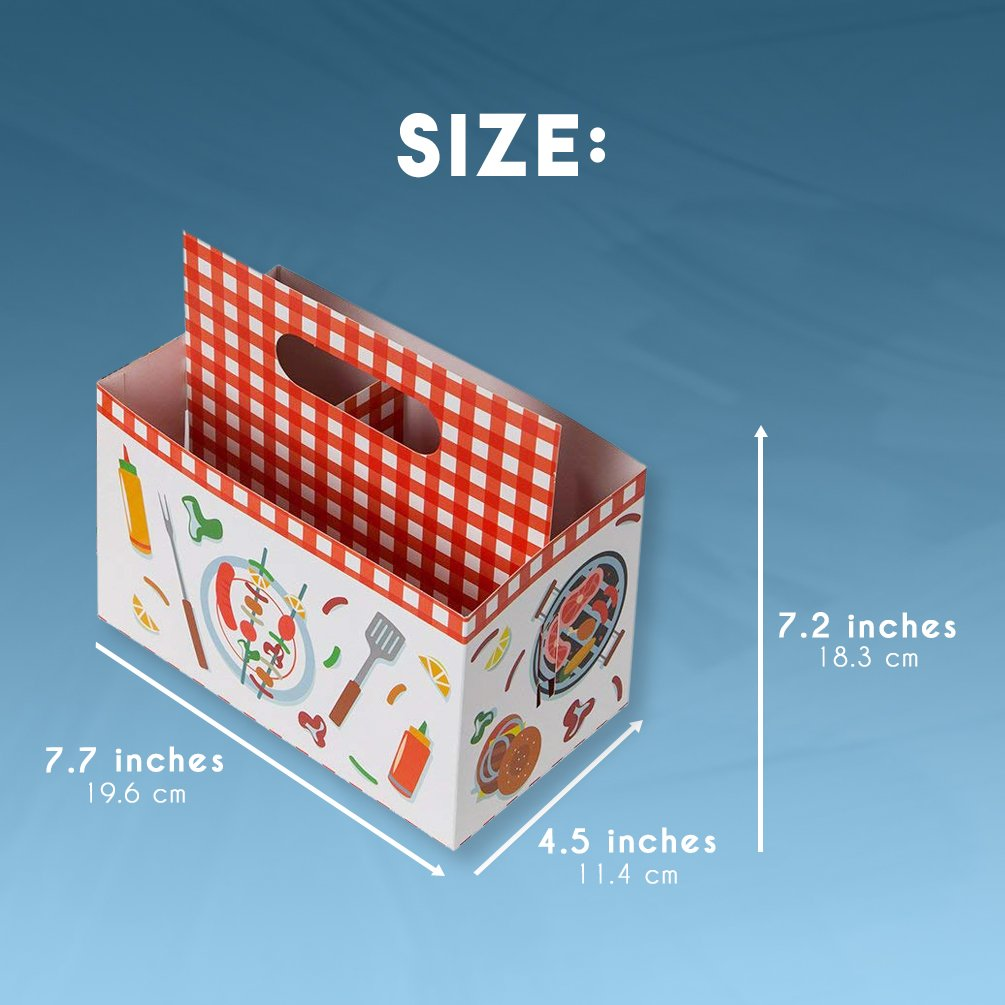 7.7 x 7.2 x 4.5 Inches 6-Pack Multi-Purpose Silverware Cutlery Caddy Organizer with BBQ Design for Birthday Party Holiday Picnic Utensil Holder Paper