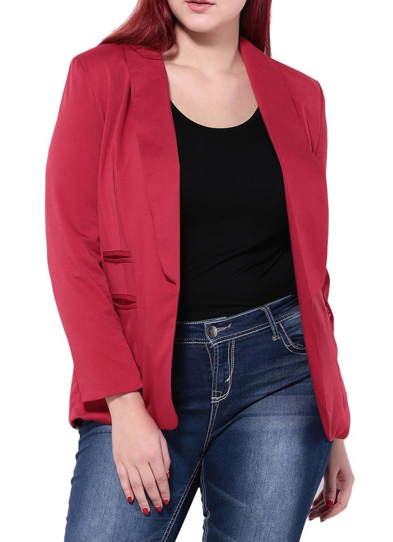 Woo2u Womens Work Office Open Front Plus Size Pocket Jacket Coat