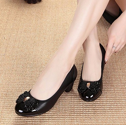 Women The Shallow Ladies Spring Women Spring Aged Shoes Black Shoes Mother Middle Mouth Older 5Ccm In KHSKX Shoes Shoes 39 4 To Single qfwOU0C