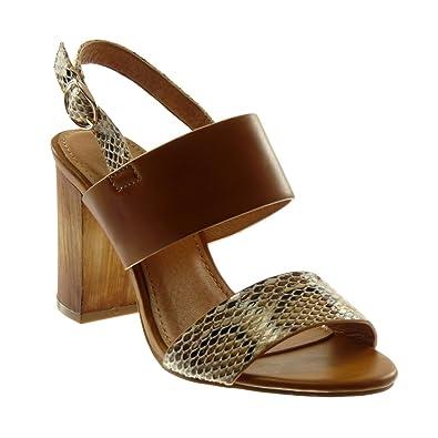 Angkorly - Chaussure Mode Sandale Escarpin lanière Cheville Femme Peau de  Serpent lanière Talon Haut Bloc 815733c87e3