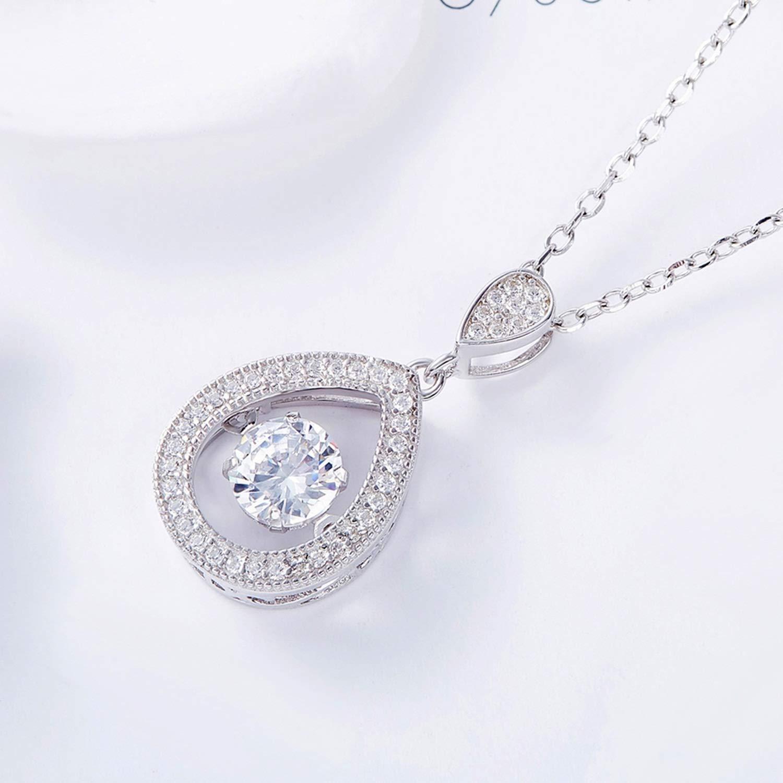 Epinki S925 Women Necklace Teardrop Pendant Women Chain Silver Necklace with Purple Cubic Zirconia