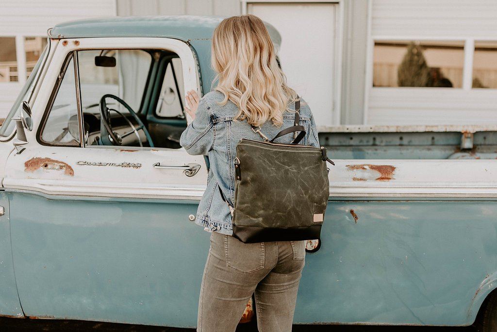Rogue Backpack +Crossbody in waxed canvas and full grain leather