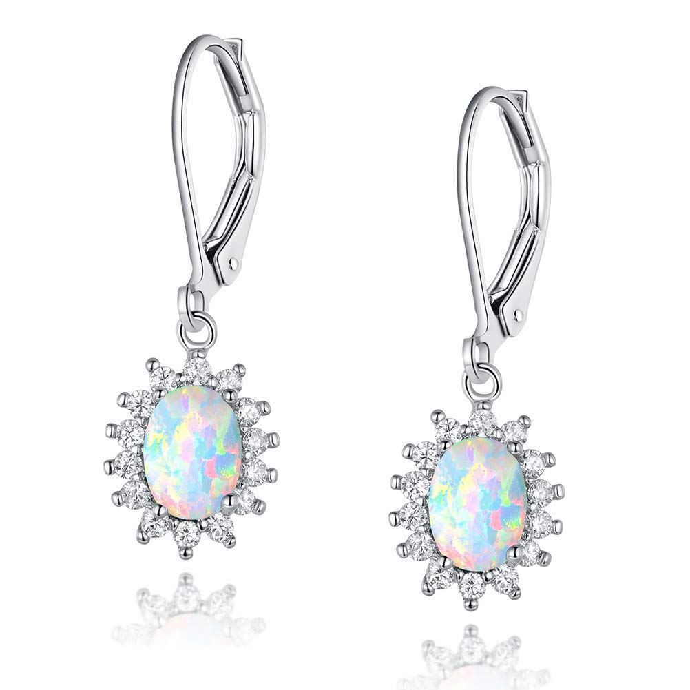 a1ca1f8fc73f2 Amazon.com  White Gold Plated Opal Halo CZ Leverback Earrings Jewelry Gift  for Women ¡  Jewelry