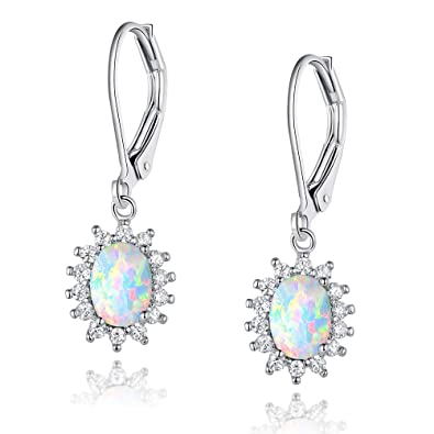 f9d85745fd91e White Gold Plated Opal Halo CZ Leverback Earrings Jewelry Gift for Women ¡