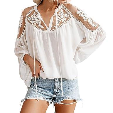 MOTOCO Mujer Sexy Top Y Camiseta de Verano Malla O-Cuello ...