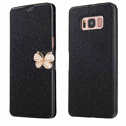 For Galaxy S8 Plus Case,HP95(TM) Fashion Ultra Slim Flower Layered Leather Flip Case Wallet Cards cover For Samsung Galaxy S8 Plus 6.2inch (Black)