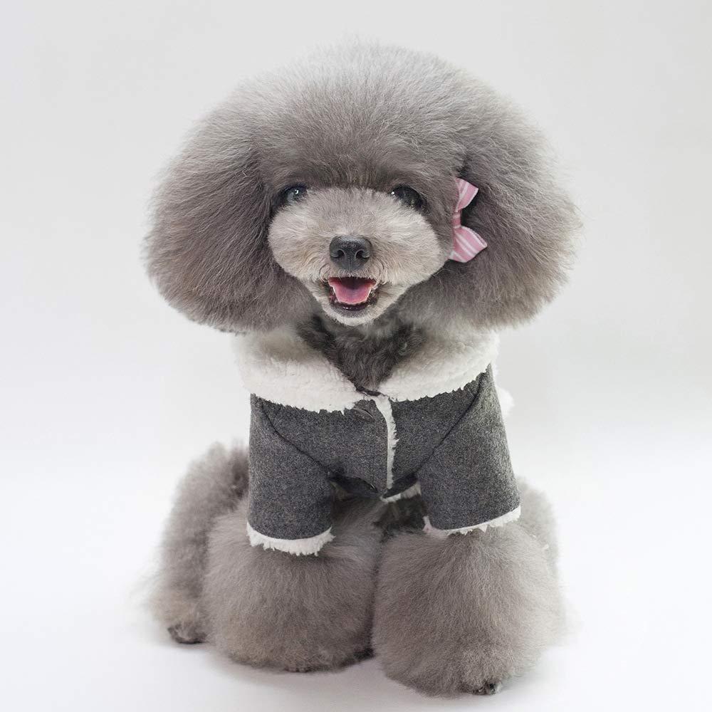 Tineer Mascota Perro Oto/ño Invierno Ropa Fresca Ropa de Abrigo Estilo Brit/ánico Chaleco Abrigo Chaqueta Abrigos con Cuello de Piel Peque/ño Perros Medianos M, Grey