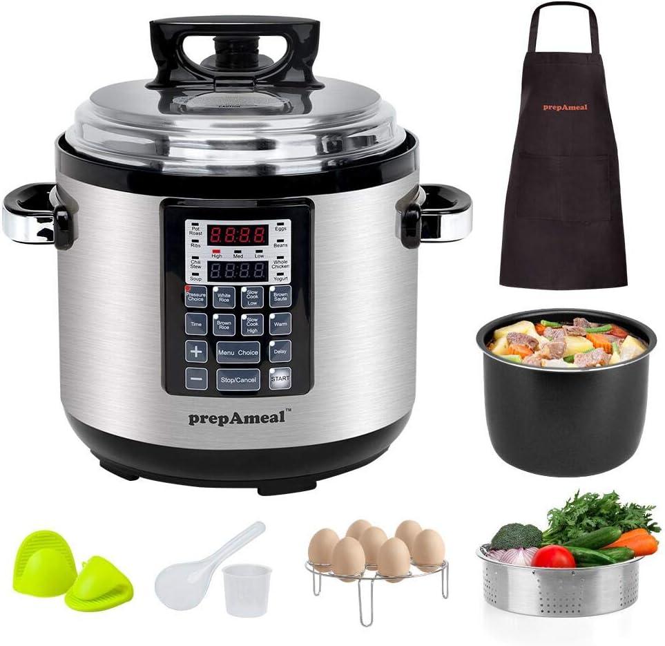 prepAmeal 6Quart 8-IN-1 Pressure Cooker with Accessories Set, Multi-Use Programmable Instant Cooker Pressure Pot with 16 Smart Programs, Slow Cooker, Rice Cooker, Steamer, Sauté, Yogurt Maker, Warmer, Hotpot
