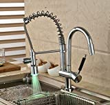 Furesnts Modern home kitchen and Bathroom Sink Taps Led light-emitting copper hot and cold spring pulled to rotate Bathroom Sink Taps,(Standard G 1/2 universal hose ports)
