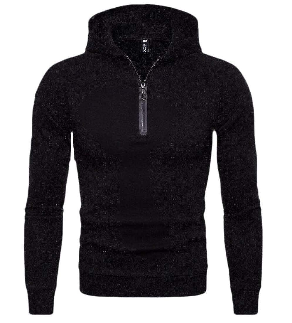 Gocgt Men Classic Casual Fit 1//4 Zip Long Sleeve Lightweight Hoodie Sweatshirt Jacket