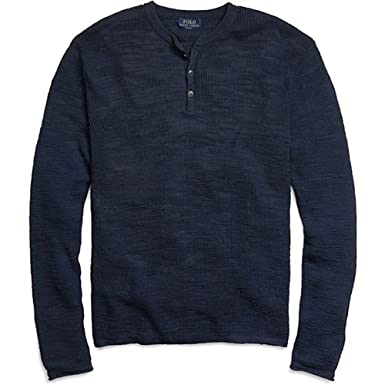 Polo Ralph Lauren Men\u0027s Custom-Fit Henley (Medium, Deep Blue)