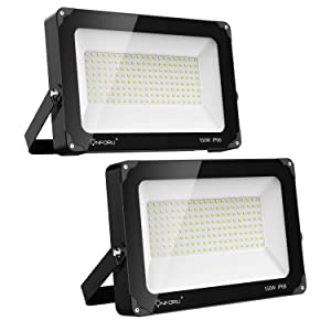 Onforu 2 Pack 150W LED Flood Light, 15,000lm 5000K Daylight White, IP66 Waterproof Super Bright Security Lights, Outdoor Floodlight for Yard, Garden, Playground, Basketball Court