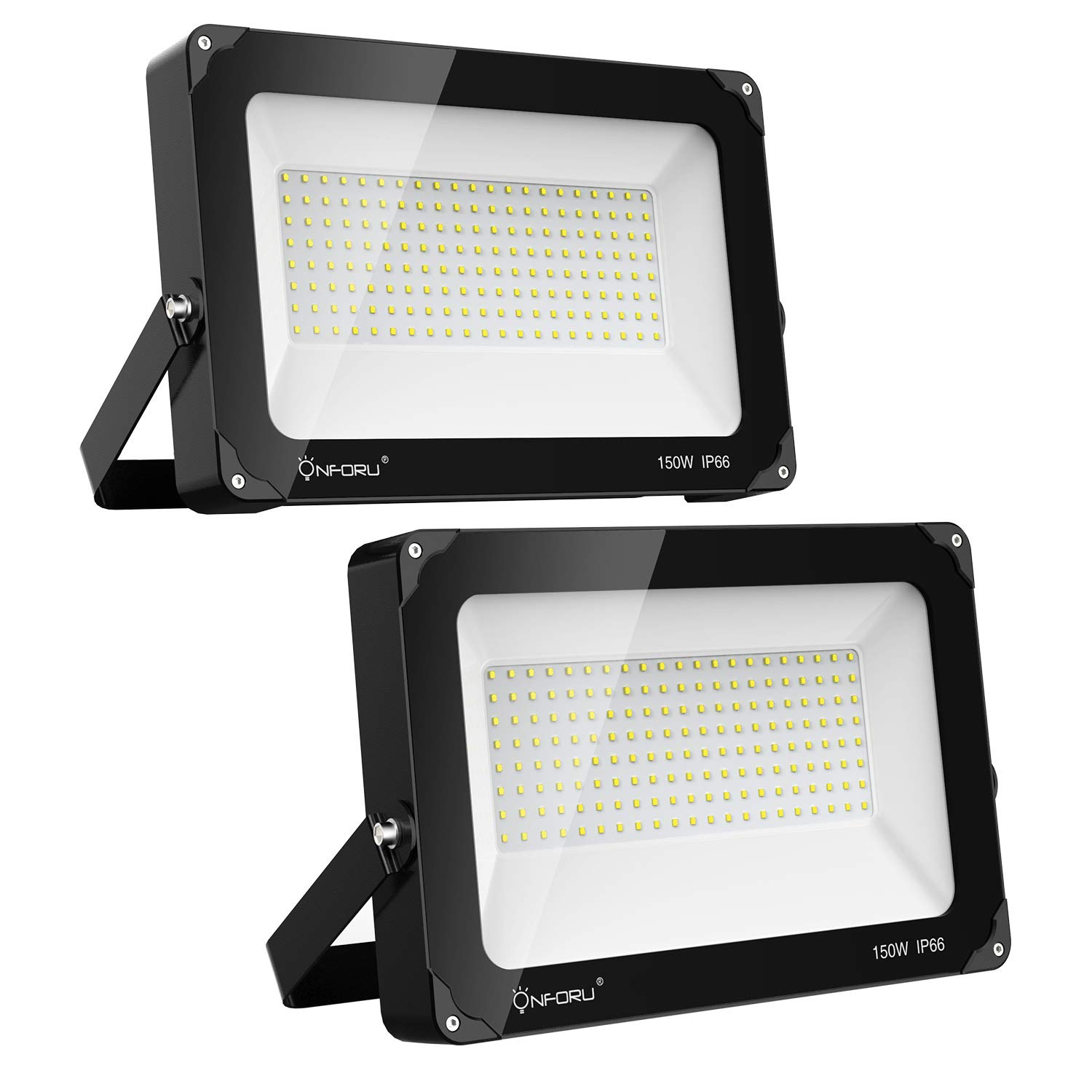 Onforu 2 Pack 150W LED Flood Light, 15,000lm 5000K Daylight White, IP66 Waterproof Super Bright Security Lights, Outdoor Floodlight for Yard, Garden, Playground, Basketball Court by Onforu (Image #1)