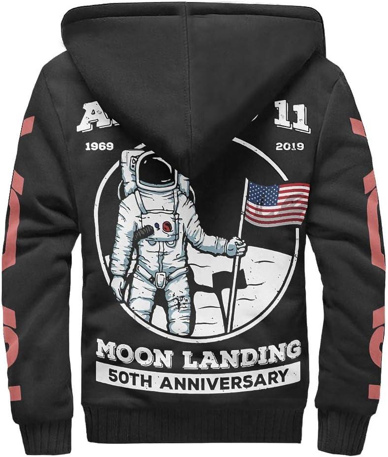 LAOAYI Männer Reißverschluss Oben Warm Vlies Kapuzenjacke Student 50-jähriges Jubiläum des Astronauten Apollo 11 Drucken Im Freien - NASA Polyester Loose Comfort Uniform white