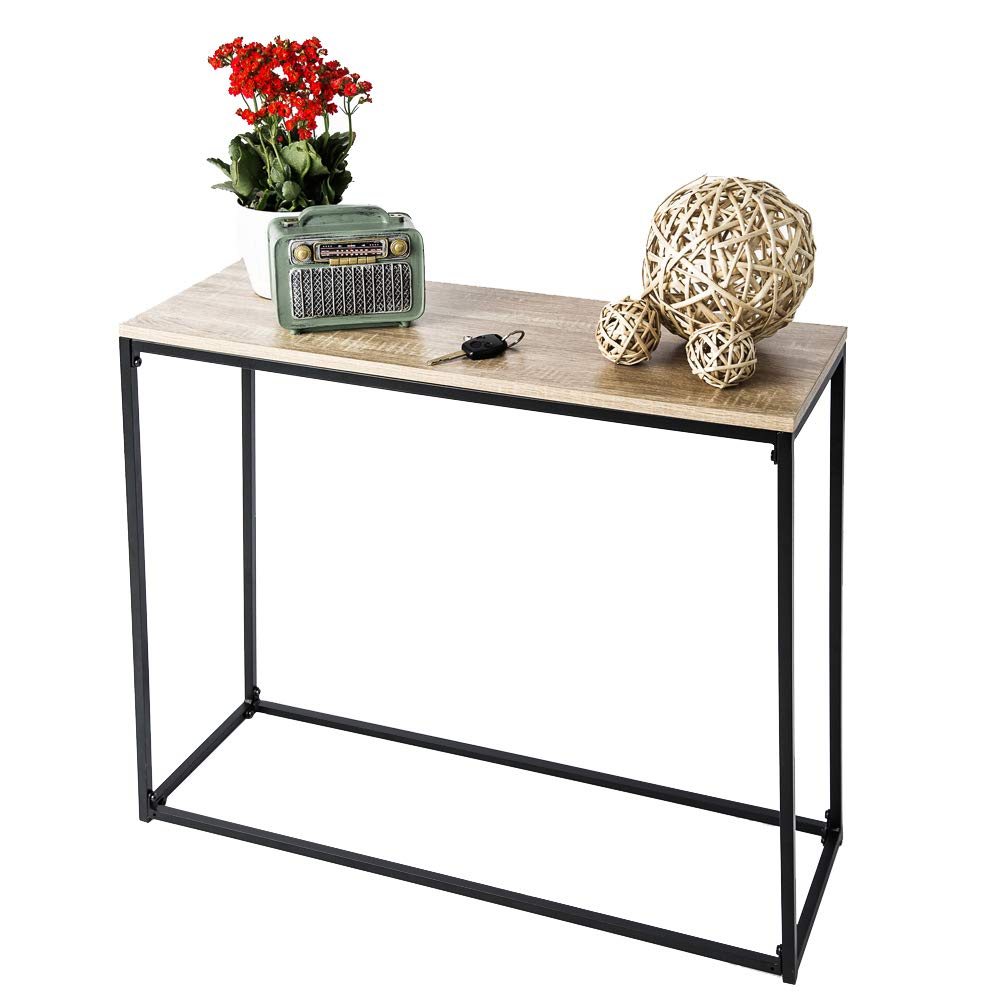 C-Hopetree Console Table, Hallway Occasional Sofa Table, Entry Display, Industrial Style, Rustic Oak Laminate Top, Black Metal Frame