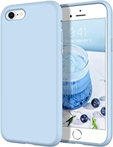 DOMAVER iPhone SE 2020 Case iPhone 8 Case iPhone 7 Case, Smooth Liquid Silicone Soft Gel Rubber Microfiber Lining Cushion Cover Shockproof Protective Phone Cases for iPhone SE/8/7 4.7 Inch,Light Blue
