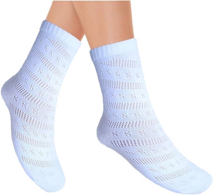 JHosiery Calcetines tobilleros de algodón Pointelle para mujer con costura plana: Amazon.es: Ropa y accesorios