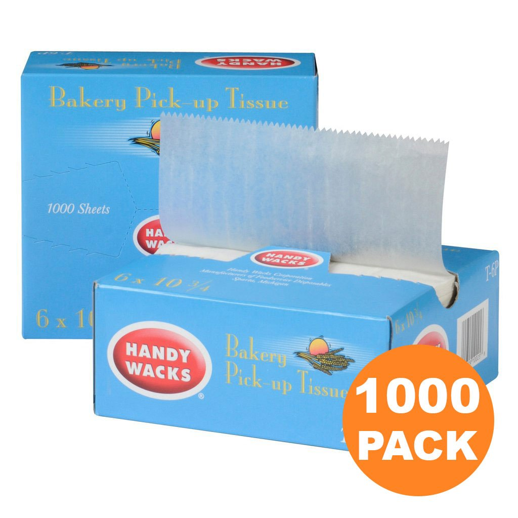 1000 Interfolded Food and Deli Dry Wrap Wax Paper Sheets with Dispenser Box, Bakery Pick Up Tissues, 6 x 10.75 Inch [2x500 Pack]