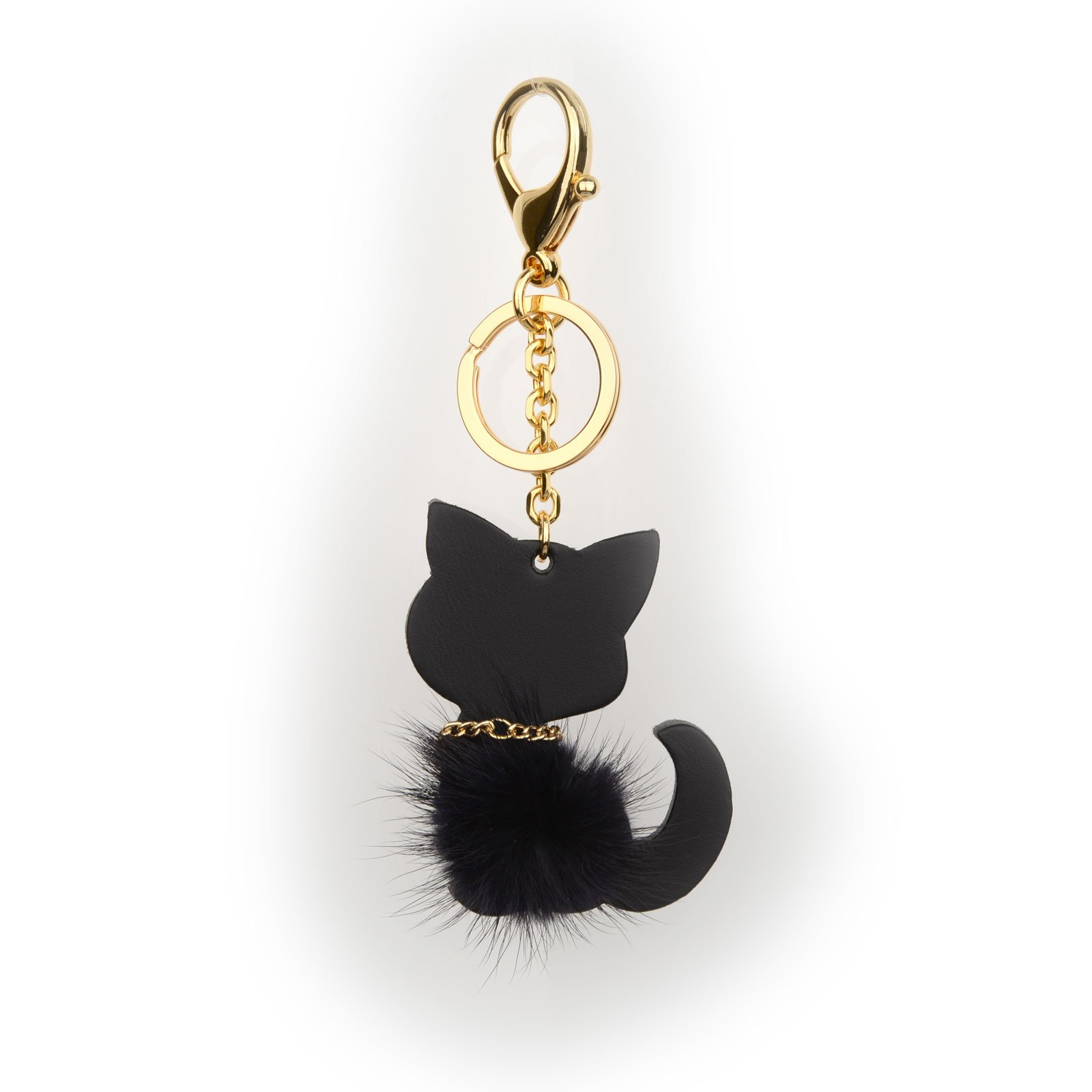 Richbud Cute Black Cat Leather Tassel Keychain Handbag Purse Charm Key Ring (Cat-Mink)