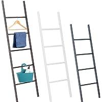 HOLZBRINK handdoekhouder, kledingrek, handdoekladder Vintage, wit, 130x40 cm (hoogte x breedte), HLL-130-40-9016