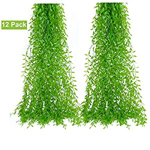 DearHouse 12 Pcs Artificial Vines Fake Greenery Garland Willow Leaves with Total 60 Stems Hanging for Wedding Party Garden Wall Home Decoration 2