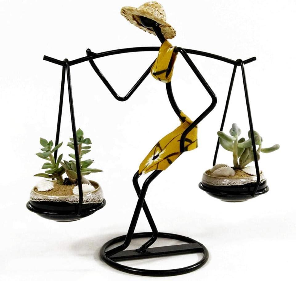 POILKJ Escultura Decorativacreativo Suculento Pequeño Soporte De Flores Figura De Hierro Forjado Maceta para Llevar Decoración De Escritorio De Niña