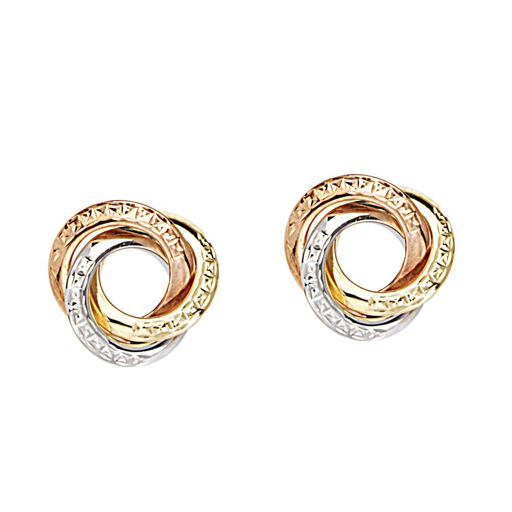 LOVE KNOT EARRINGS, 14KT GOLD TRI COLOR TRIPLE CIRCLE LOVEKNOT EARRING