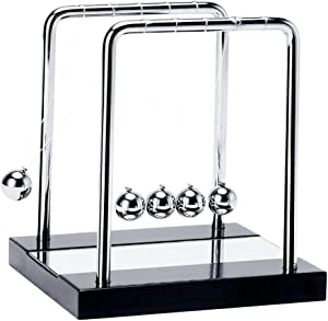 Newton Cradle Kinetic Pendulum, 5 Pendulum Balls, Mini Desk Balls Pendulum, Metal Balls For Educational Toys, Office And Physics Toys, Double View With Mirror, Fascinated To Relax (mirror+black)