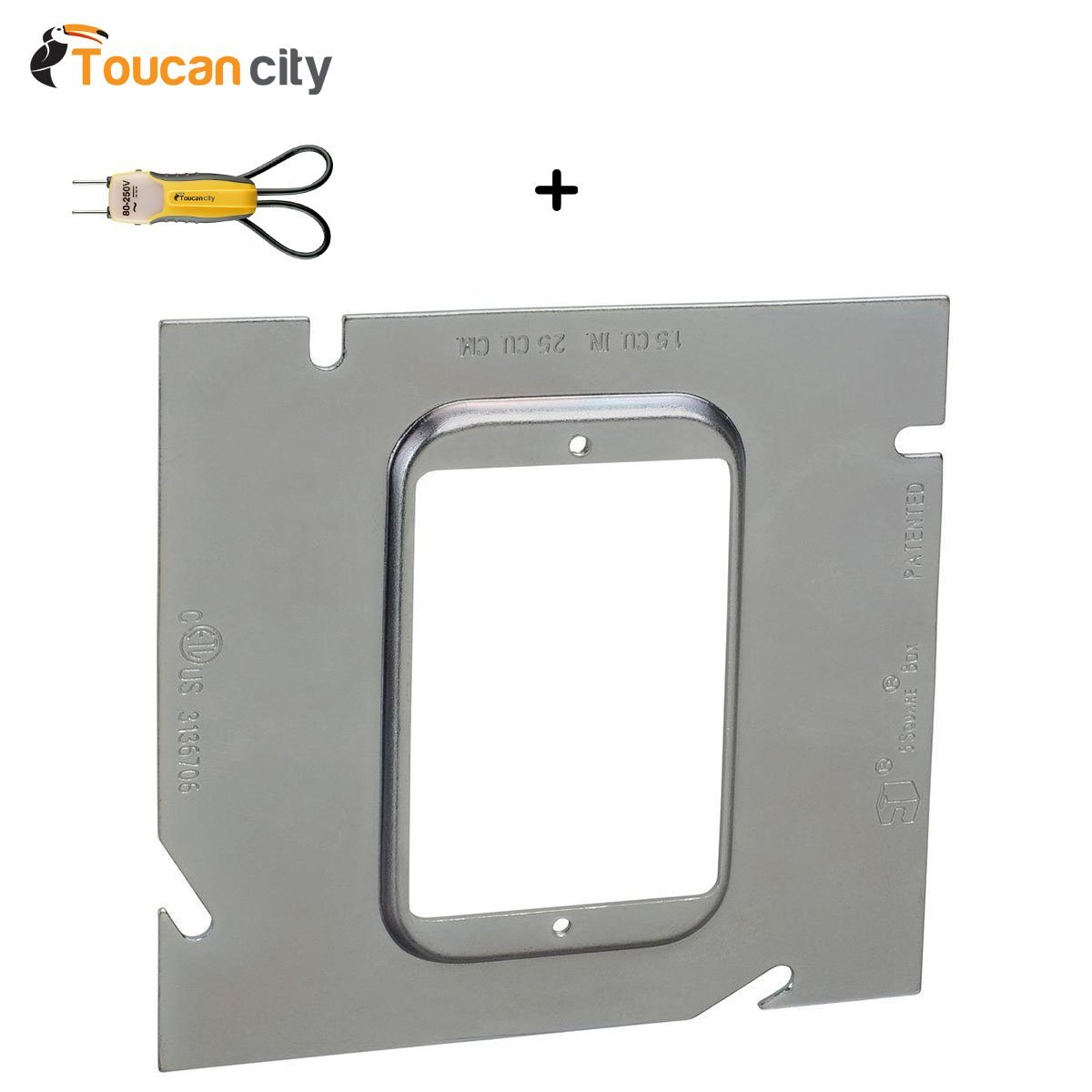 Toucan City Voltage Tester and 1/4 in. 5-Square Single Gang Ring (20 per Case) 82C-1G-1/4