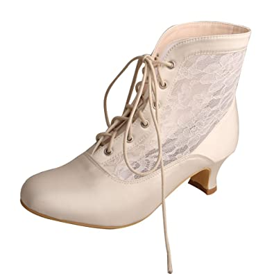 MQW7004 Women's Round Toe Lace-Up Boots Low Heel Lace Satin Western Wedding Bride Boots