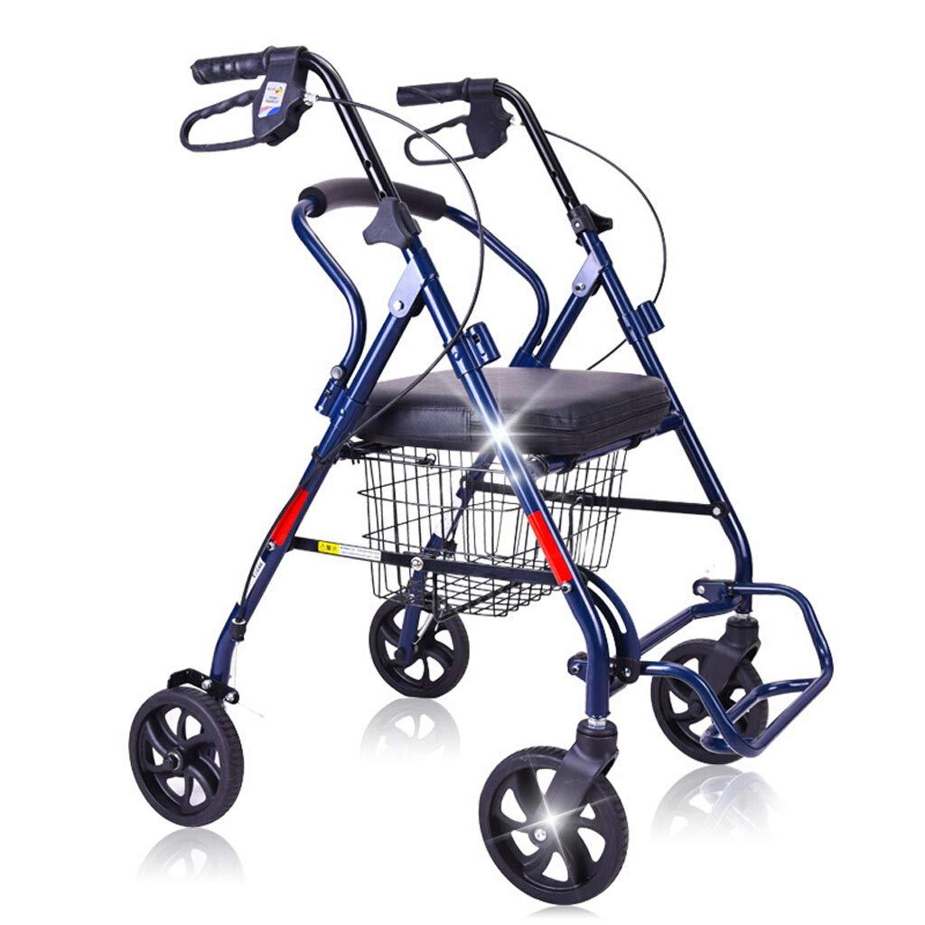 老人ショッピングカートウォーカー車輪付きトロリー、折り畳み式シートプッシュ車椅子L63 * 61 * 85-96CM   B07J57Q7Y8