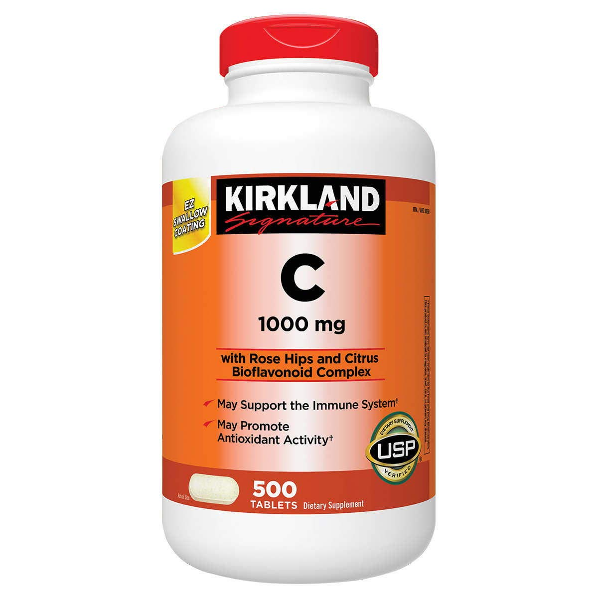 Kirkland Signature Vitamin C 1000mg, with Rose Hips 500 Tabs each (pack of 2)