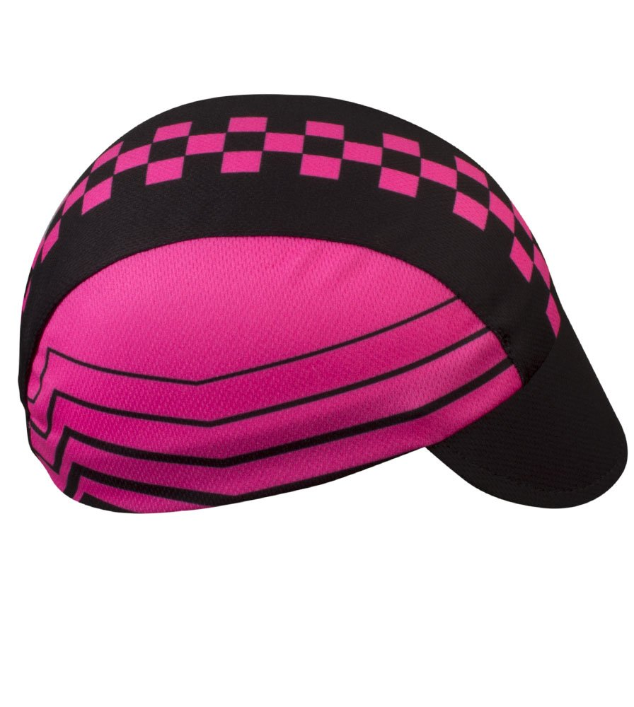 Pink Checkers Cycling Cap - Made in the USA by Aero Tech Designs (Image #2)