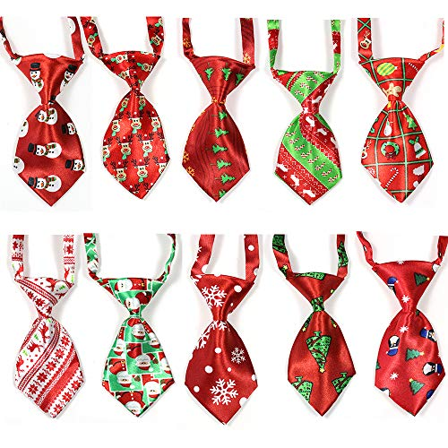 yagopet 10pcs/Pack Dog Christmas Ties Small Cat Dog Ties Xmas Puppy Dog Neckties Bow Ties Cat Dog Ties for Christmas Festival Dog Collar Dog Accessories