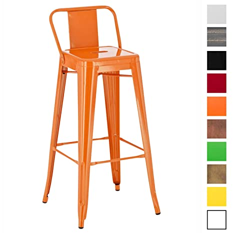Tabouret De Bar Amazon.Clp Tabouret De Bar En Metal Mason Tabouret De Bar Industriel Dossier Et Repose Pied Chaise De Cuisine Ou Bar Design Confortable Couleur Orange