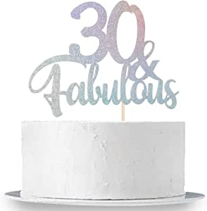 INNORU 30 & Fabulous Cake Topper Mixed Colors Glitter, Happy 30th Birthday Cake Decoration, Hello 30, Thirty Birthday Decor Supplies