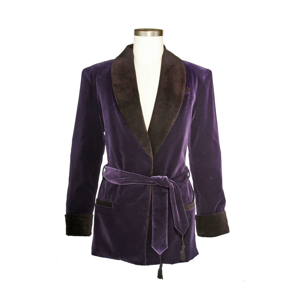 Smoky Joe's Clothing - Men's Bilberry Purple Velvet Smoking Jacket with Black Lining by Smoky Joe's Clothing