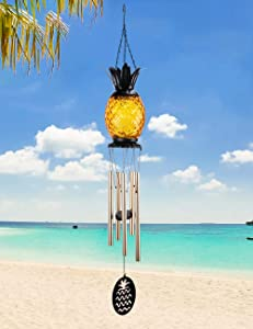 MUMTOP Solar Wind Chime Pineapple Solar LED Light Windchimes Decorative Hanging Wind Bell for Porch Patio and Garden Decor