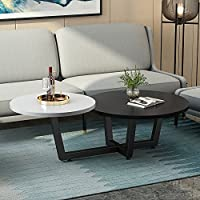 Modern Double Coffee Table, LITTLE TREE 2 Tiered Round Sofa Table & Simple End Table, for Small Apartment