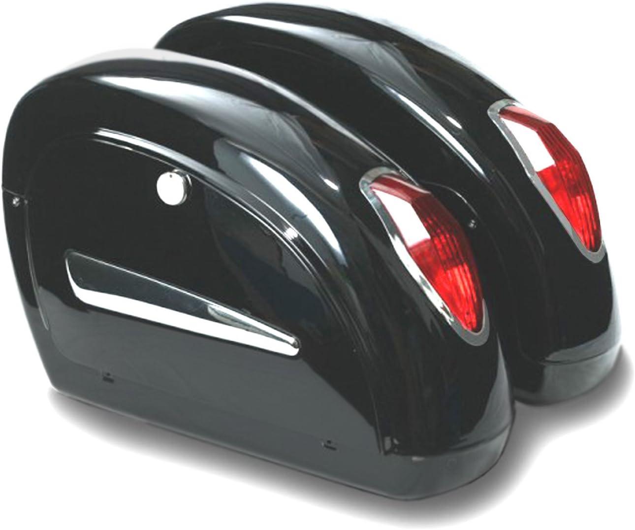 Alforjas rigidas para moto custom de 20 litros de capacidad. Color en negro brillo. Viene con todo lo necesario para su instalación.