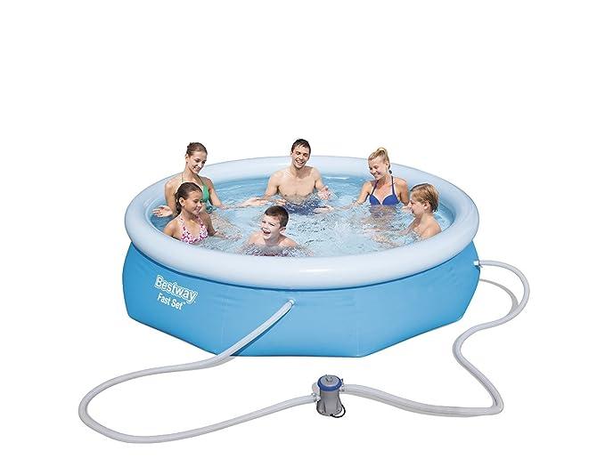 Bestway 57270 - Piscina hinchable Fast Set con anillo hinchable y depuradora eléctrica, 305 x 76 cm, 3.638 litros, azul