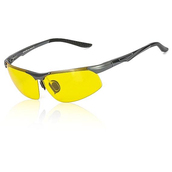 LVIOE Lunette de Conduite Vision de Nuit Nocturne Sport Semi-cerclées Métal Monture Anti Eblouissement Polarisée - UV400 Protection (Noir/Jaune) RQv0m