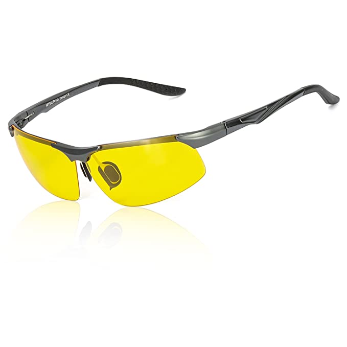 HD Gafas de Visión para Conduccion Nocturna Hombre Mujer Polarizadas Lente Amarilla Anti Reflectante Ultraligero Metal… H1pk5l
