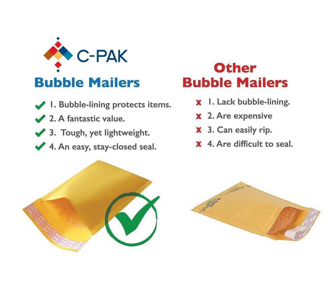 amazon com c pak kraft bubble mailers 4 9 5x13 5 inches interior
