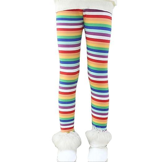 7d11309f737b4 Rysly Girls Winter Thick Warm Long Pants Printing Fleece Lined Leggings 100  Rainbow