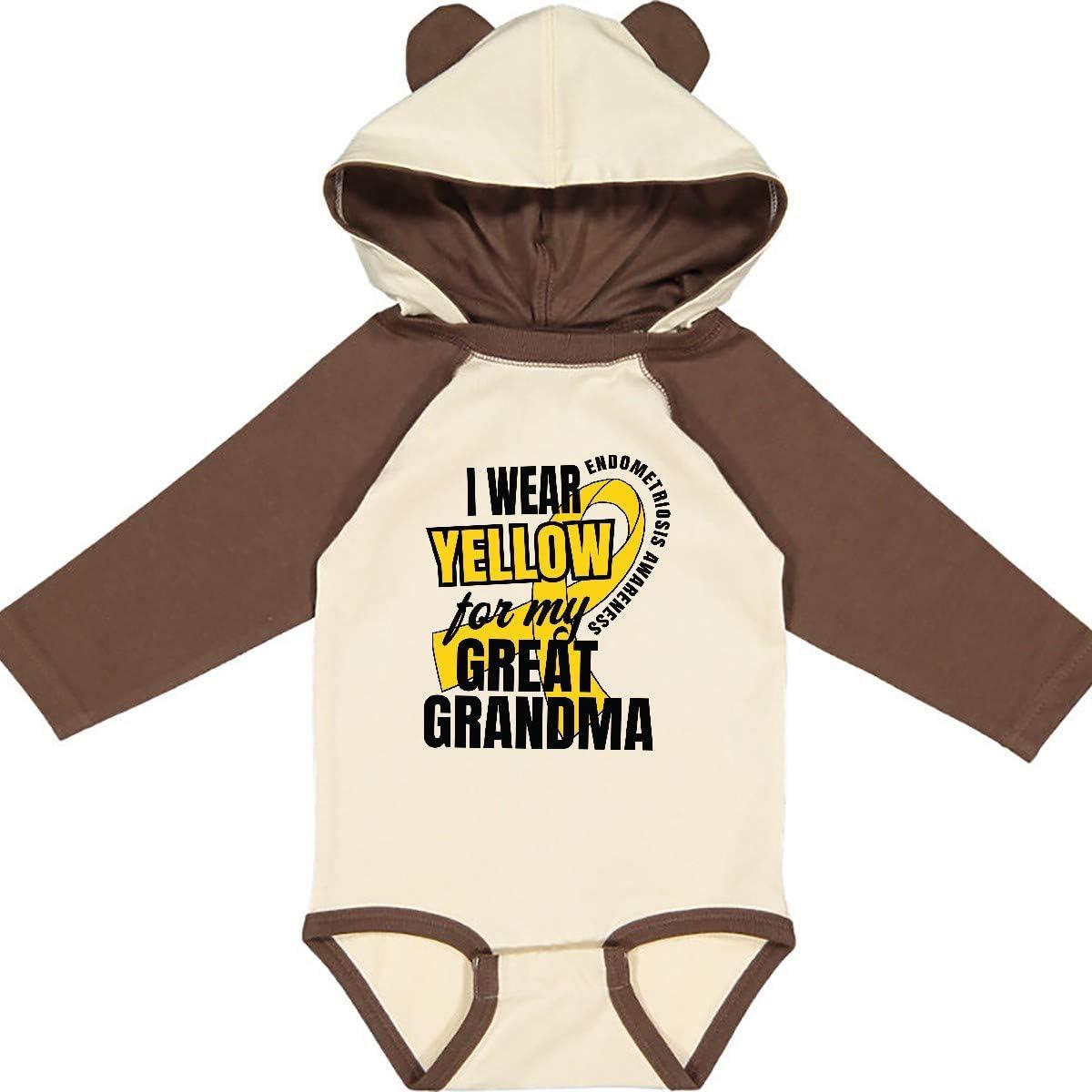 inktastic I Wear Yellow for My Great Grandma Endometriosis Long Sleeve Creeper