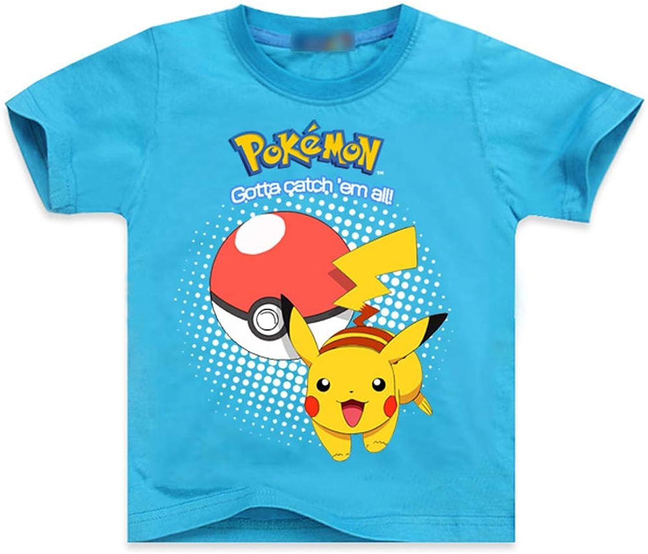 Fittrame Pokemon playera para niños, Teen Boys Pokeball Print Camisa Niños Detective Pikachu manga corta Anime Tee Camisa de verano Top Pokemon Camiseta para niños 3 – 8 años Blusa ventas L-blue