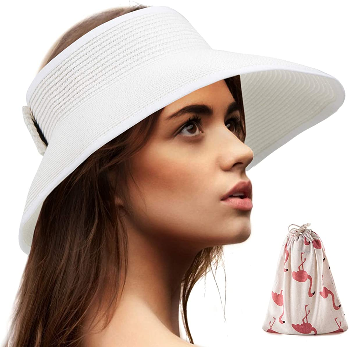 Free Shipping Collapsible Large Brim Striped Straw Visor Hats