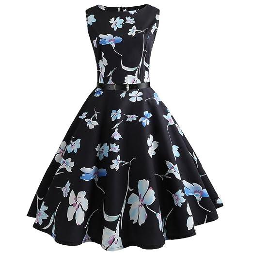 e548f3d3ef6 Alixyz Women Classy Audrey Hepburn 1950s Vintage Music Printed Swing Dress  (S