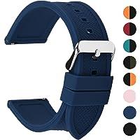 Fullmosa 10 Colori per Cinturino 18mm 20mm 22mm 24mm in Silicone a sgancio rapido, Cinturino in caucciù con Fibbia in Acciaio Inossidabile,per Uomo e Donna
